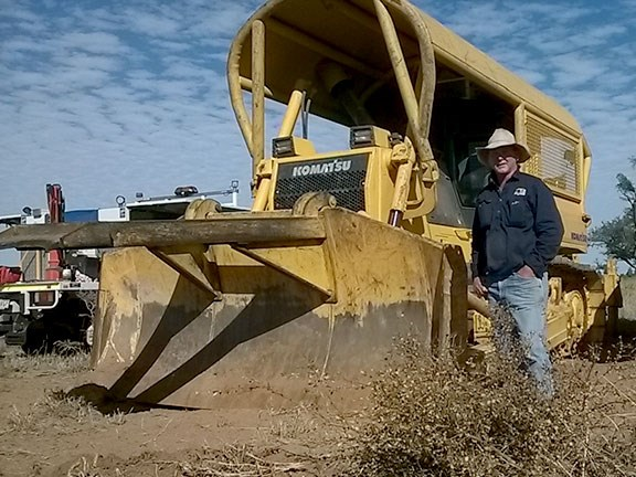 Ian Donaldson with one of his four Komatsu D85EX dozers