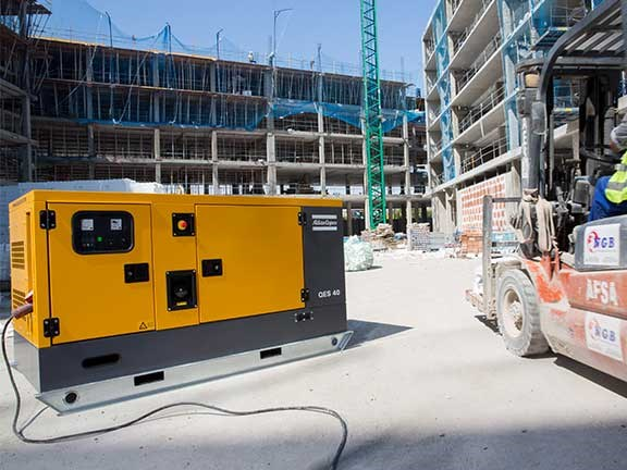 Atlas Copco QES40 generator on construction site