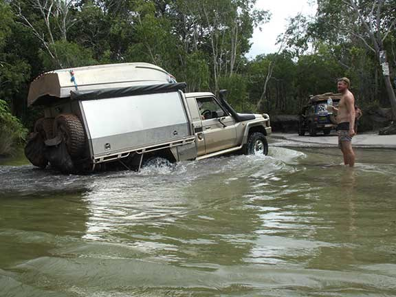 Toyota LandCruiser crossing river