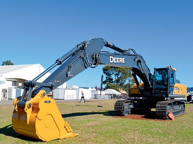 John Deere E360 LC excavator demo model at the RDO Equipment stand