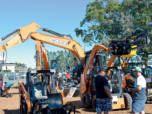 The Earthmoving Equipment Australia stand with some Case machines on display