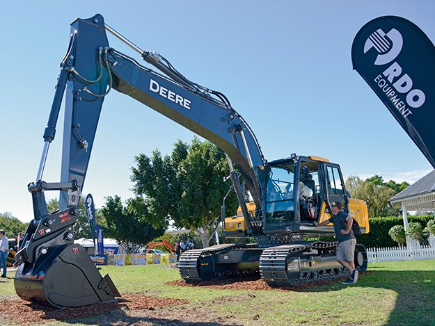 John Deere E210 LC excavator demo model at the RDO Equipment stand