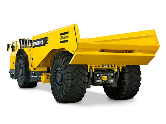 The new Atlas Copco Minetruck MT42 mining truck has a tailgate which acts as a spill guard.