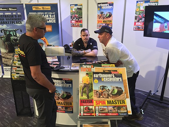 Graham Gardiner, Ben Zappala and Peter Townsend man the Bauer Trader Media stand at DDT.