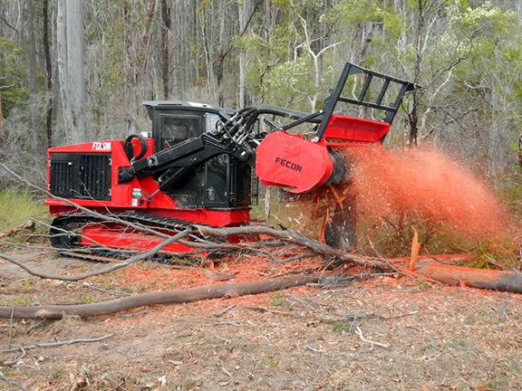 A Fecon FTX 128 mulcher in action.