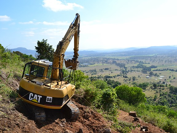 The Caterpillar 311cu excavator on site in Boonah, South East Queensland.