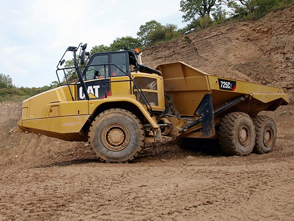 The Cat 725C2 articulated dump truck