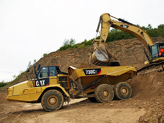 The Cat 730C2 articulated dump truck