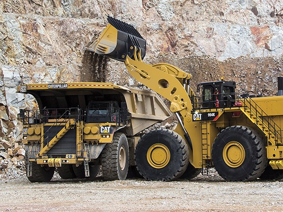 The Cat 994K can load 150, 200 and 250 short ton mining trucks in one full pass less than the previous model.