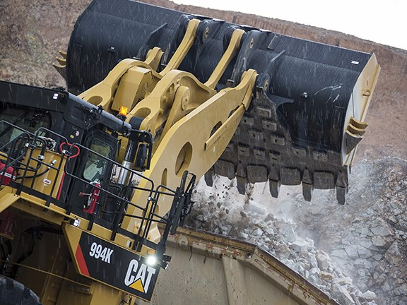 The Caterpillar 994K wheel loader can carry 40.9 tonnes per pass.