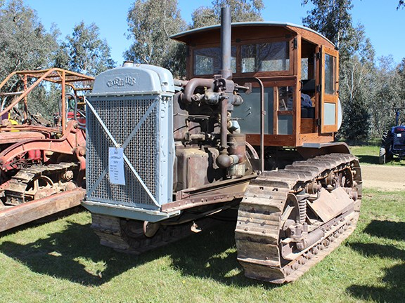 A 1930 Caterpillar Sixty crawler tractor on display at the Corryong Historic Machinery Club rally.