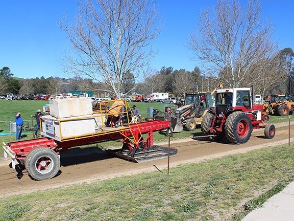 A tractor pull at the Corryong Historic Machinery Club rally.