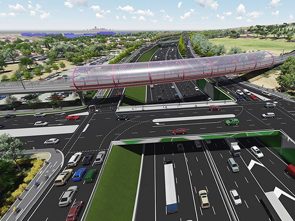 An artist's Impression of Darlington Upgrade Project - view from south of Sturt Road, looking north. Source: SA Department of Planning, Transport and Infrastructure