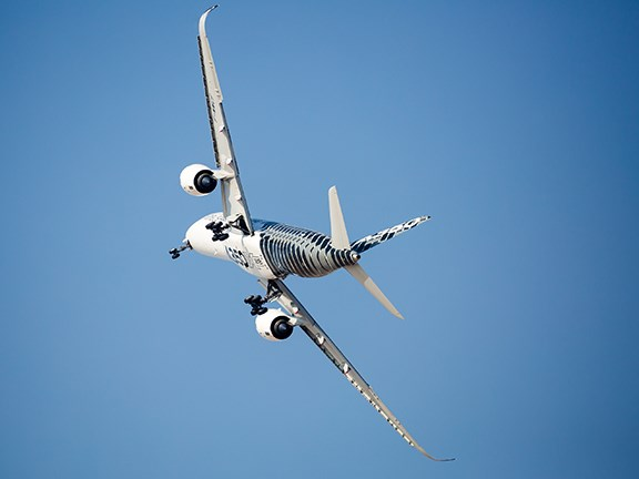 Graphite-derived carbon fibre is used to make the Airbus A350-900. Photo: Dmitry Birin / Shutterstock.com