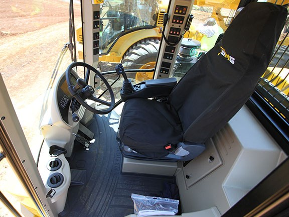 The large amount of glass provides for excellent vision around the Hydrema 912's cab.