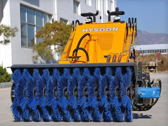 The Hysoon HY380 mini skid steer loader
