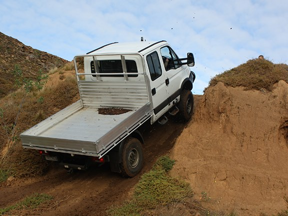 Diff locks front centre and rear give the Iveco Daily 4X4 truck some serous climbing cred.
