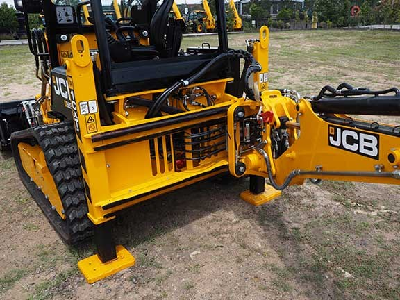 Close up shot of rear of JCB 1CXT backhoe loader
