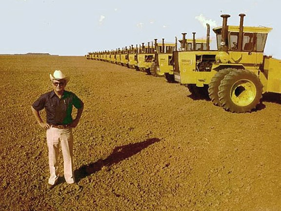 Jack Fletcher with a fleet of Steiger Tractors for his 250-square-kilometre Camballin Farms.