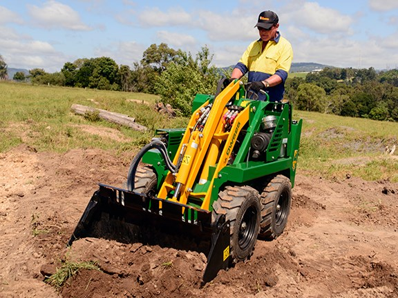 Ron Horner gets to grips with the Kanga DW625 stand-on mini skid-steer loader.
