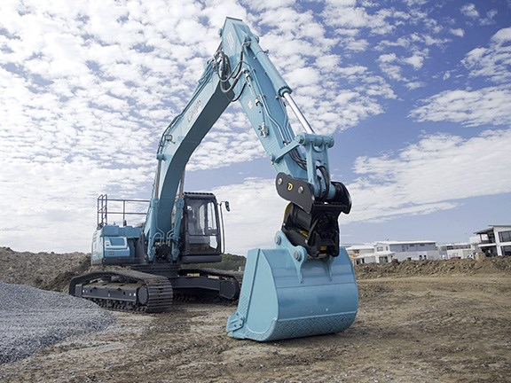 Coops Drainage and Civil's new Kobelco SK260LC-10 excavator.