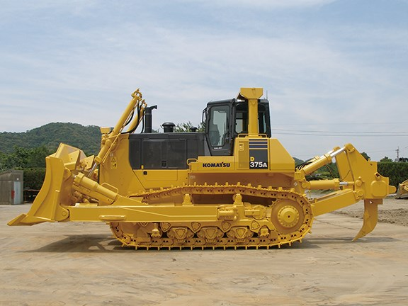 A Komatsu D375A dozer fitted with Dual Bushing Tracks.