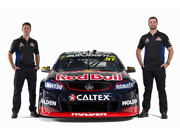 Red Bull Racing drivers Jamie Whincup (left) and Shane Van Gisbergen with the #97 VF Commodore.