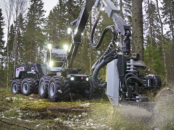 The Logset 12H GTE Hybrid forest harvester