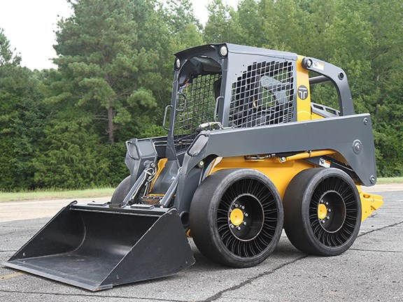 The Michelin 12N16.5 X Tweel SSL Hard Surface airless tyre for skid-steer loaders.