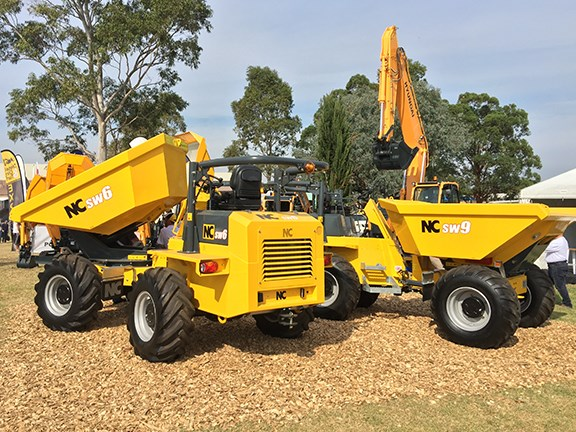The NC Engineering SW6 and SW9 site dumpers on display at Porter Equipment's stand at Diesel, Dirt & Turf 2016.