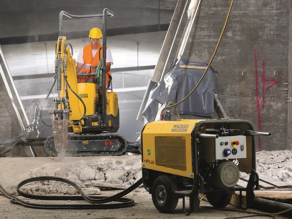 GREEN WINNER: Wacker Neuson 803 mini excavator, which travels using diesel but switches to electric drive to work in confined spaces or in applications where emissions cannot be tolerated. Highly Commended: JCB Inteli-Hybrid Generator (see 'Engineering').