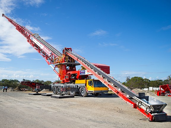 The Putzmeister Telebelt TB200 belt conveyor extended.