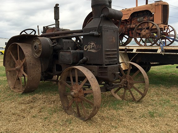 Among the vintage equipment on show was this early 20th century kerosene-burning Rumely Oil Pull tractor.