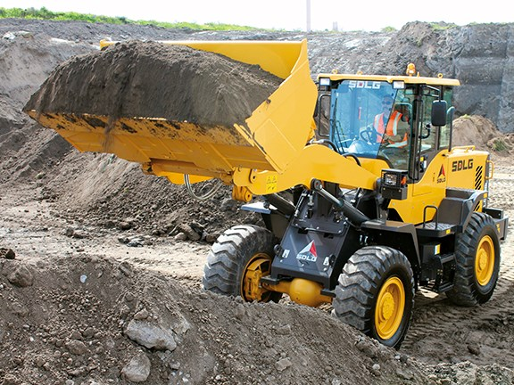 Randolph Covich at the wheel of the SDLG LG938L wheel loader.