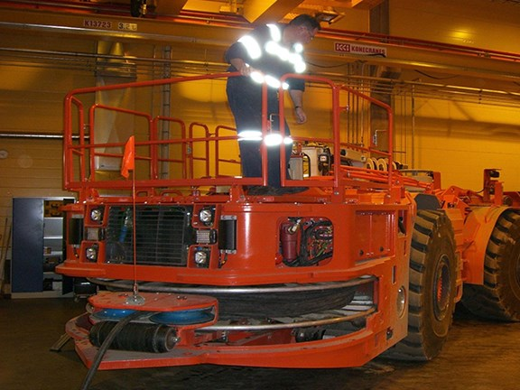 THEN: Servicing a Sandvik LH514E LHD at Northparkes Mines.