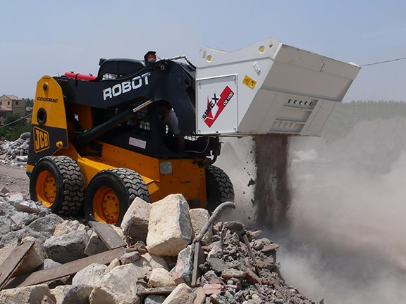 Simex CB crusher bucket for skid-steer loaders.