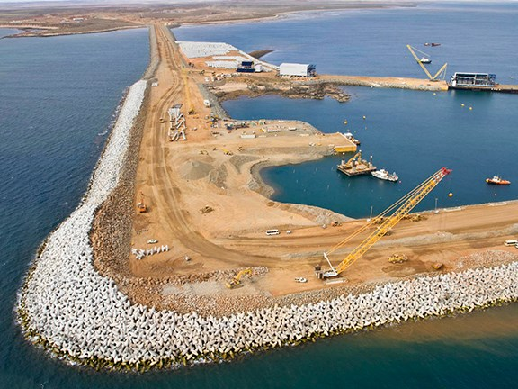 Citic Pacific Mining's Cape Preston port has a breakwater extending 2.6km offshore.