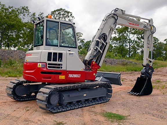Takeuchi TB280FR excavator is a zero-tail-swing model.