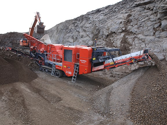The Terex Finlay I-140 impact crusher being used in a quarry.