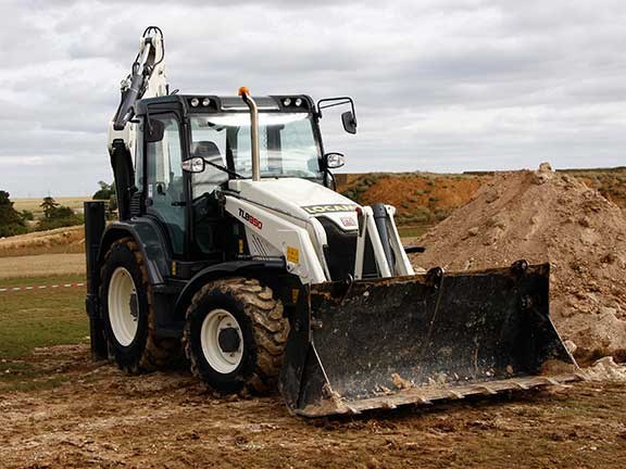 The Terex TLB890 backhoe loader.