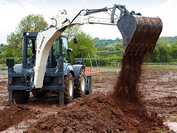 The Terex TLB990 backhoe loader.