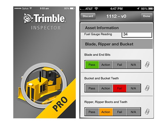 The Trimble Inspector Pro app splash page, and a screenshot from Trimble Inspector.