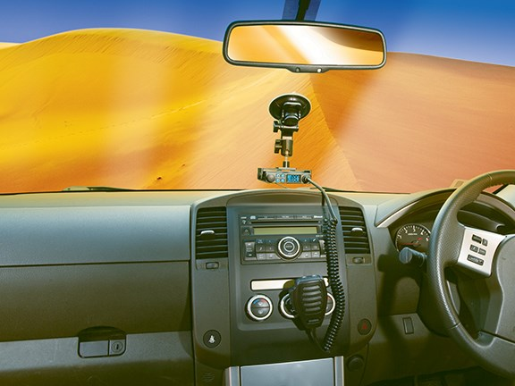 An artost's impression of how the Uniden UH8020S UHF CB radio would look mounted on a windscreen.