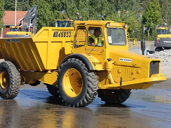 The Gravel Charlie Volvo articulated haul truck had a load capacity of 10 tonnes compared to the 40 tonnes of today's Volvo off road trucks.