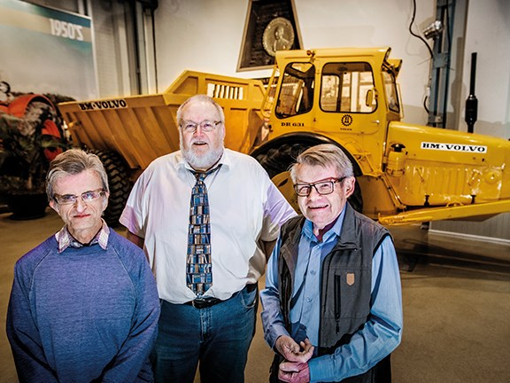 Jorgen Forsrup, Per-Arne Pettersson and Lennart Oknegard with Volvo's Gravel Charlie articulated haul truck.
