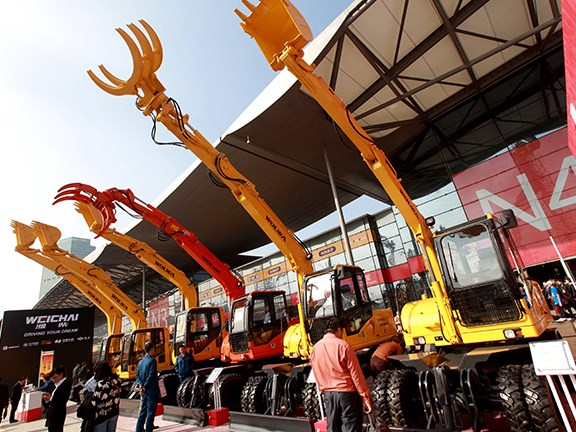 Bauma China 2014: Rubber-tyred excavators were big this year.