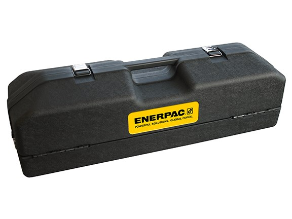 The Enerpac Porta Power set is housed in a sturdy plastic case.