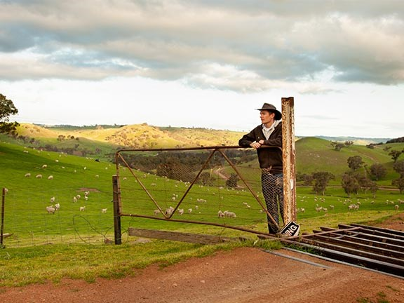farmer leaning on fence