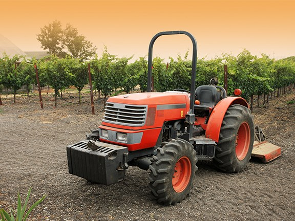 Small tractor in vineyard