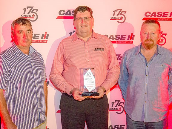 Healy and the team from Intersales with their trophy for Case IH 2016 Dealer of the Year (one or two branches).